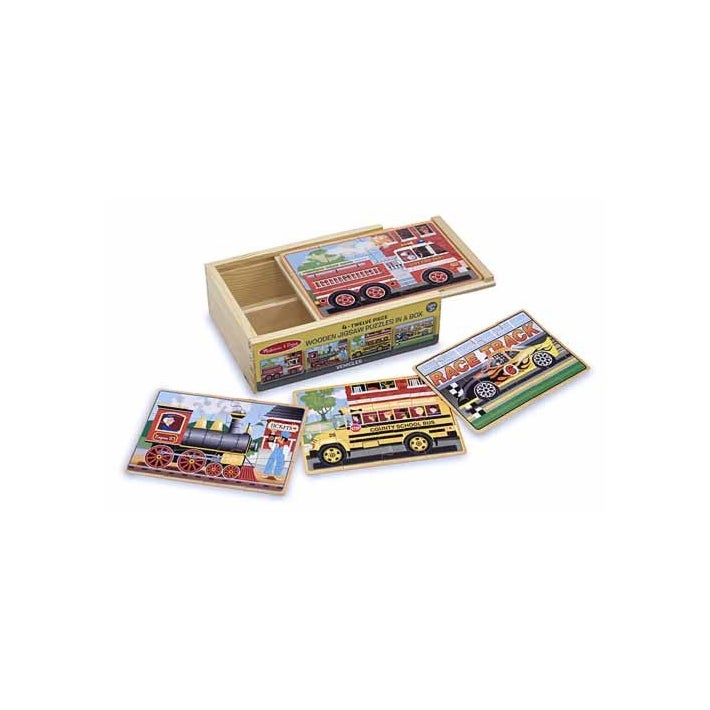 Melissa & Doug Vehicles Jigsaw Puzzles in a Box (12pc)